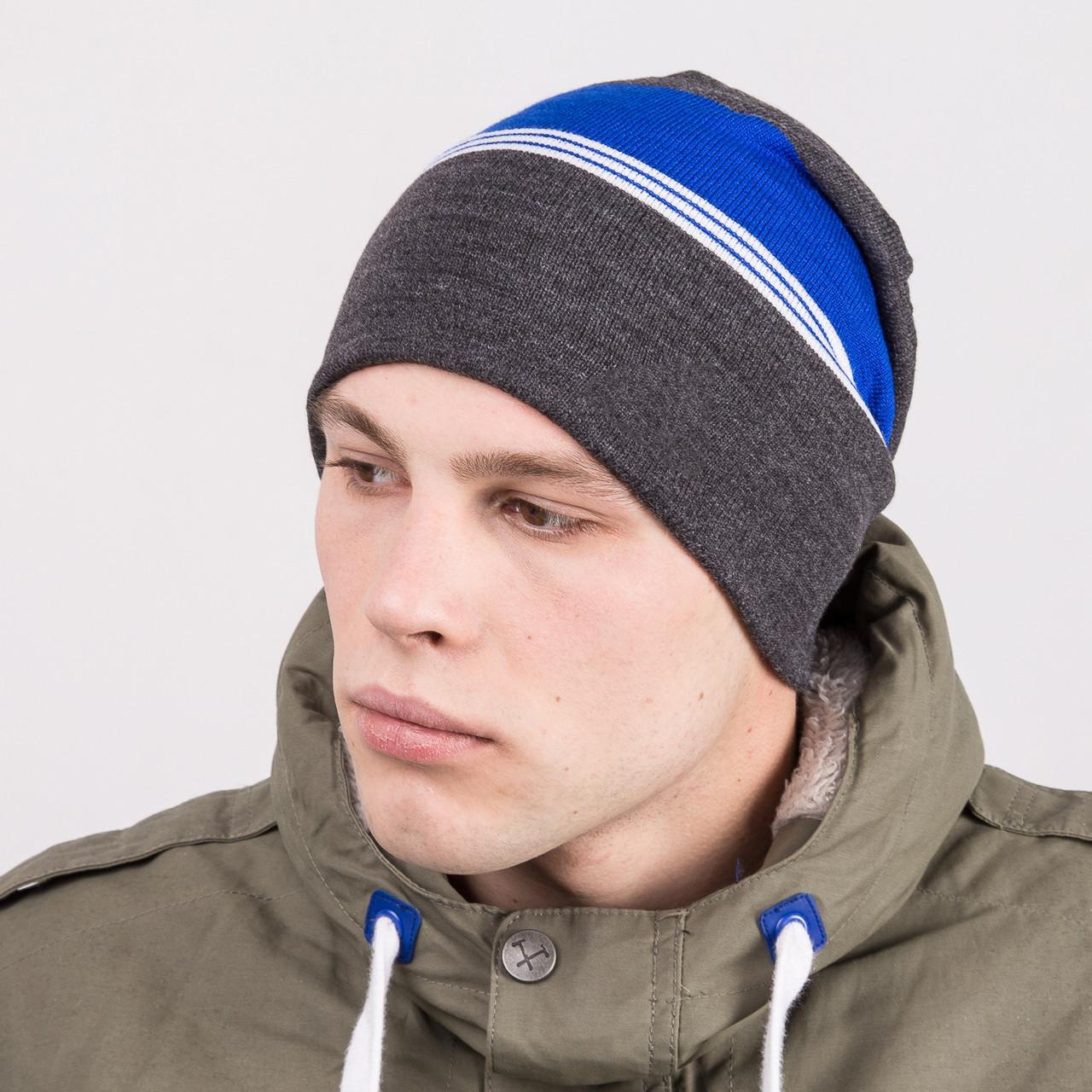купить вязаную шапку колпак на зиму мужскую артикул M67a по лучшим