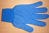 Перчатки вязанные без точки, синяя