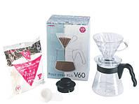 Набор пуровер для заваривания кофе Hario V60 02 Pour Over Kit на 1-4 чашки VCSD-02B-EX, фото 1