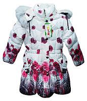 "Детская зимняя куртка-пальто ""Цветочная поляна"", на 5-8 лет, розовая"