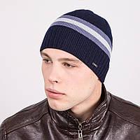 Зимняя вязаная мужская шапка в полоску - Артикул m2d