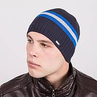Зимняя вязаная мужская шапка в полоску - Артикул m2e