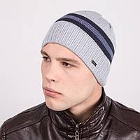 Зимняя вязаная мужская шапка в полоску - Артикул m2b
