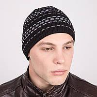 Мужская современая вязаная шапка в полоску - Артикул m15b