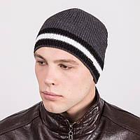 Зимняя вязаная мужская шапка в полоску - Артикул m18