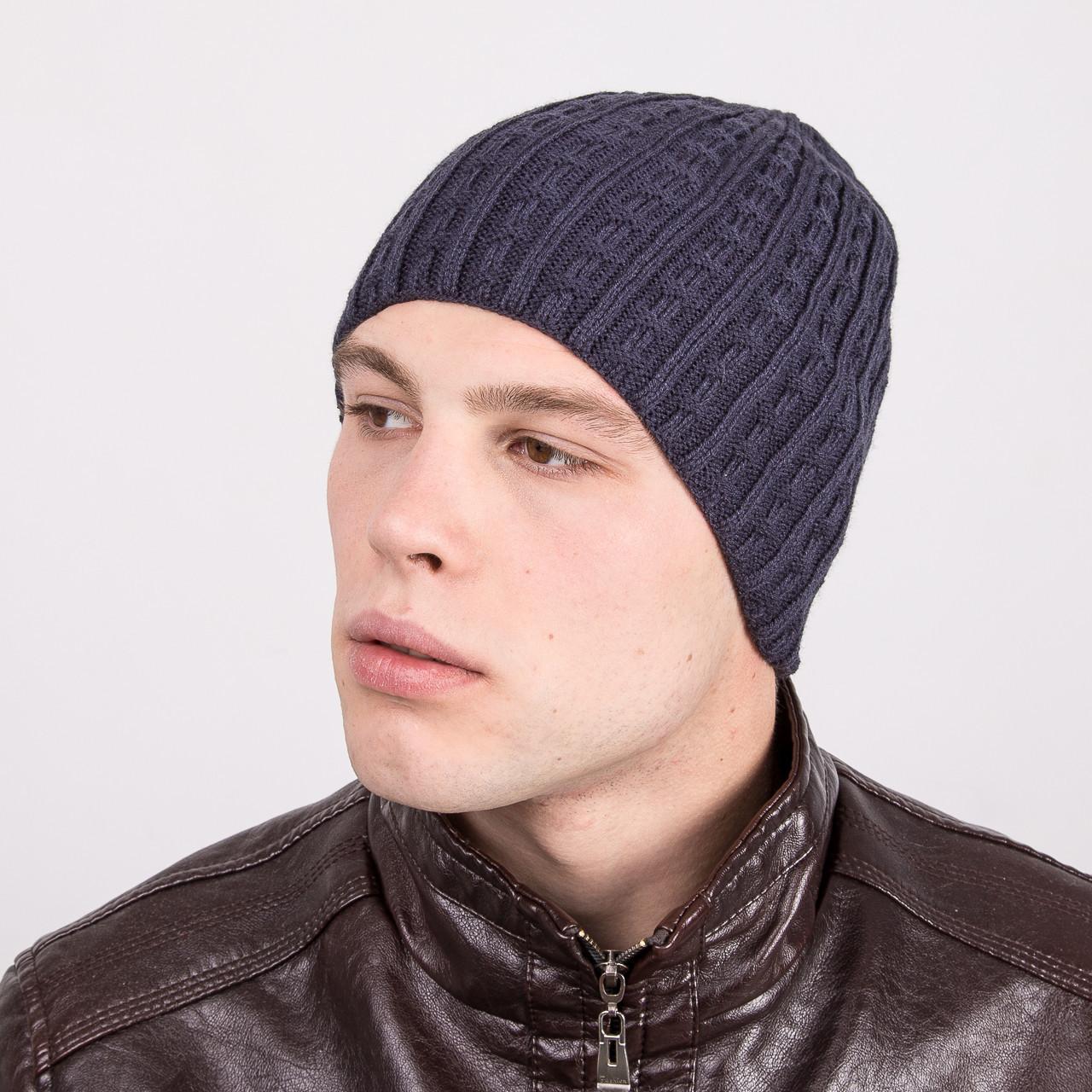 купить мужскую молодёжную вязаную шапку артикул M33а по лучшим