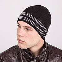 Мужская вязаная зимняя шапка в полоску - Артикул m32а