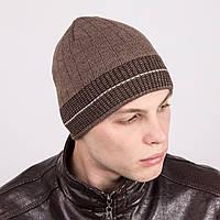 Зимняя мужская вязаная шапка в полоску - Артикул m38b