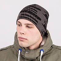 Мужская вязаная брендовая шапка - Артикул m43а