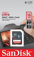 Карта памяти SanDisk 16GB SDHC C10 UHS-I R48MB/s Ultra (SDSDUNB-016G-GN3IN)
