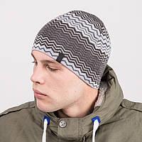 Вязаная зимняя мужская шапка в стиле casual - Артикул m54с