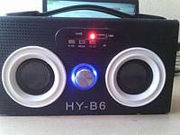 Портативная колонка с радио и USB HY-B6 FM, 2 LED-фонарика, пульт управления, дерево