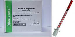 Шприц медицинский инъекционный 1,0 мл (инсулиновый U-40, с иглой 0,33 x 13мм)