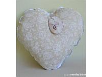 Подушка декоративная ручной работы Сердце White Rose