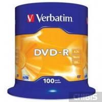 Диск VERBATIM DVD-R 4,7Gb 16x Cake 100 pcs 43549