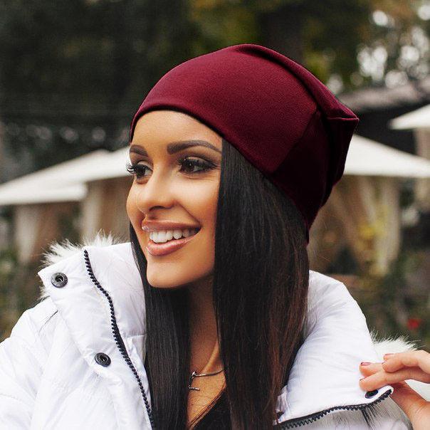 Женская трикотажная шапка чулок, цвет бордовый