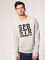Спортивная кофта Adidas\Адидас, серая, черное лого, ф63