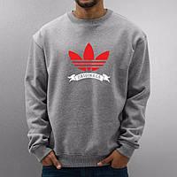 Спортивная кофта Adidas\Адидас, серая, красное лого, унисекс, ф65