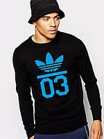 Спортивная кофта Adidas 03\Адидас 03, синий принт, черная ф81