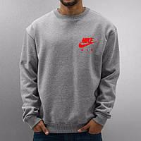 Спортивная кофта Nike, серая, красный маленький логотип, ф4019
