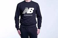Спортивная кофта New Balance, черная с большим белым логотипом, ф4077