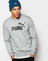 Спортивная кофта Puma, серый цвет, черный логотип, ф4086