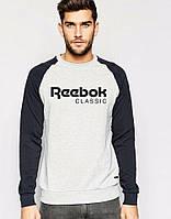 Спортивная кофта Reebok, серое туловище, черные рукава, ф4100
