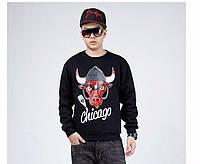 Спортивная кофта chicago bulls, чикаго булс, красный логотип, черная кофта, ф4162