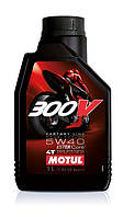 Масло моторное для мотоциклов синтетическое Motul 300v 4t factory line road racing SAE 5w40 (1l) 104112, фото 1