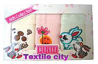 Набор махровых детских полотенец с вышитыми животными  30*50 см 3 шт /уп. Kids Collection MERZUKA