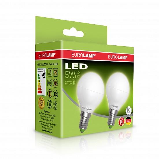 "Мультипак ""1+1"" LED Лампа Eurolamp ECO серия ""Е"" G45 5W E14 4000K"