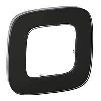 Рамка 1 пост Valena ALLURE черное стекло