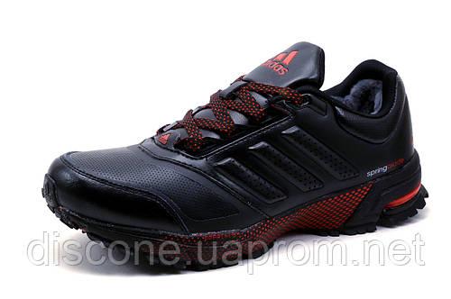 Зимние кроссовки Adidas Spring Blade, на меху, кожа, черные с красным, р. 42