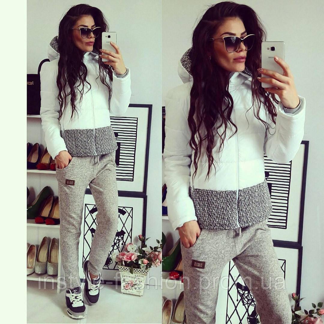 Женская короткая курточка на синтепоне белая