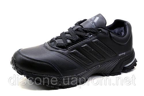 Зимние кроссовки Adidas Spring Blade, на меху, кожа, черные