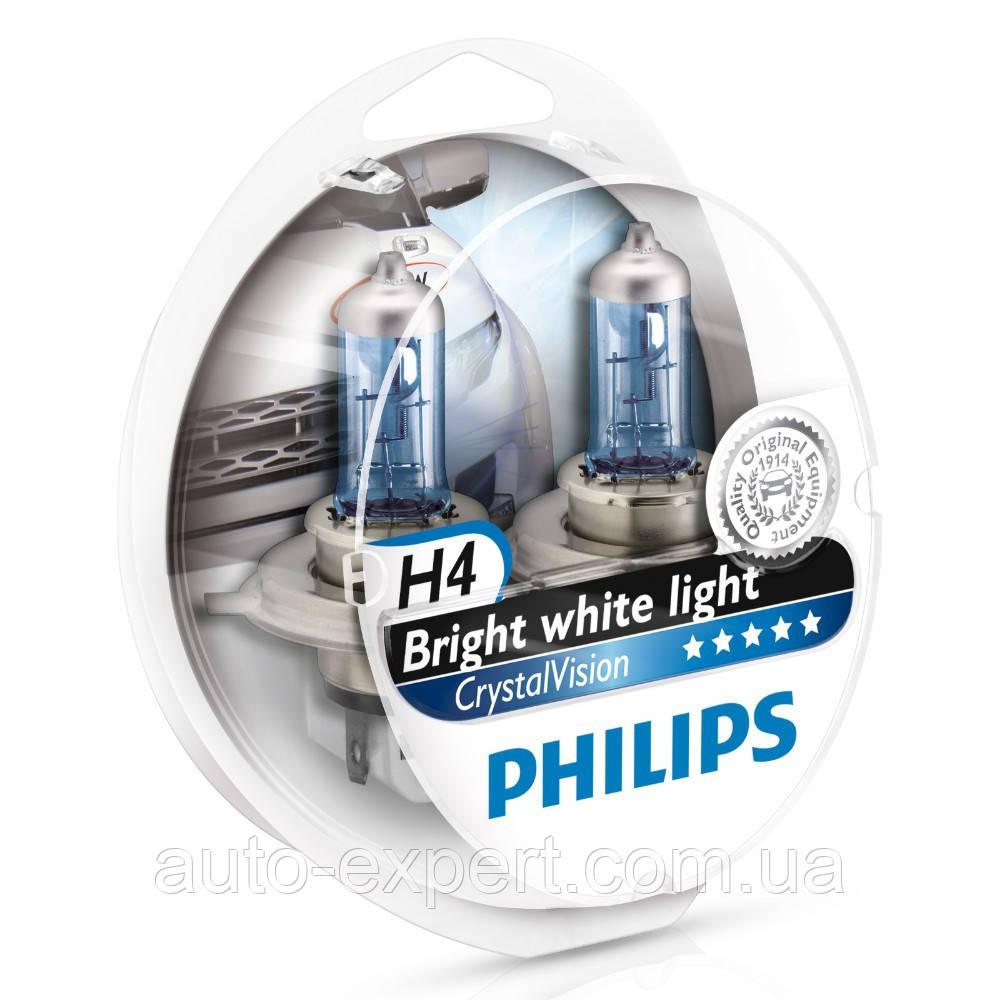 """Автомобильные галогенные лампы """"PHILIPS""""(H4)(Crystal Vision)(4300K)+2W5W"""