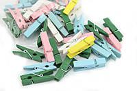 Набор разноцветных декоративных прищепок 100 шт 3 см