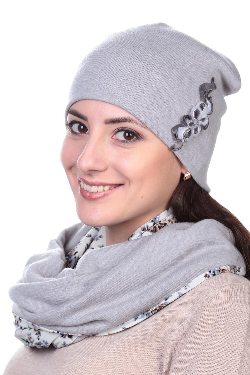 Шапка женская серая