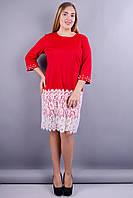 Ния француз. Красивое платье больших размеров. Красный., фото 1