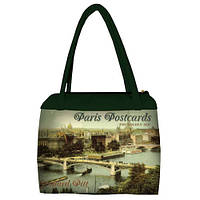 Женская сумка с принтом Париж зеленая