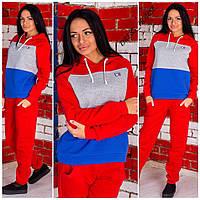 Женский теплый спортивный костюм Tommy Hilfiger ткань трехнитка красный
