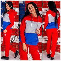 Женский теплый спортивный костюм Adidas ткань трехнитка красный
