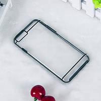 Чехол TPU+PC прозрачный с цветным ободком для iPhone 6/6S plus черный, фото 1
