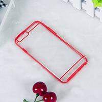 Чехол TPU+PC прозрачный с цветным ободком для iPhone 6/6S plus красный