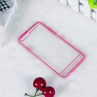 Чехол TPU+PC прозрачный с цветным ободком для iPhone 6/6S plus розовый