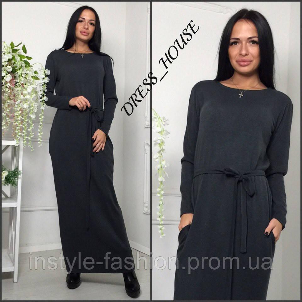 Женское платье в пол с карманами ткань ангора цвет серый
