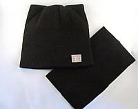 Комплект шапка с ушками и шарф-труба коричневый