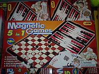 Набор игр 5 в 1 Magnetic games.шахматы, шашки, карты, нарды, домино