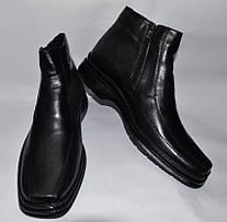 Мужские кожаные ботинки великаны, черные, на две змейки