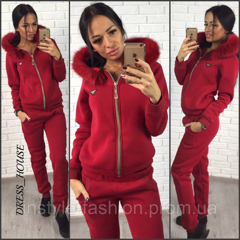 3ad9af4d0962 Женский спортивный костюм с мехом ткань трехнитка цвет бордовый ...